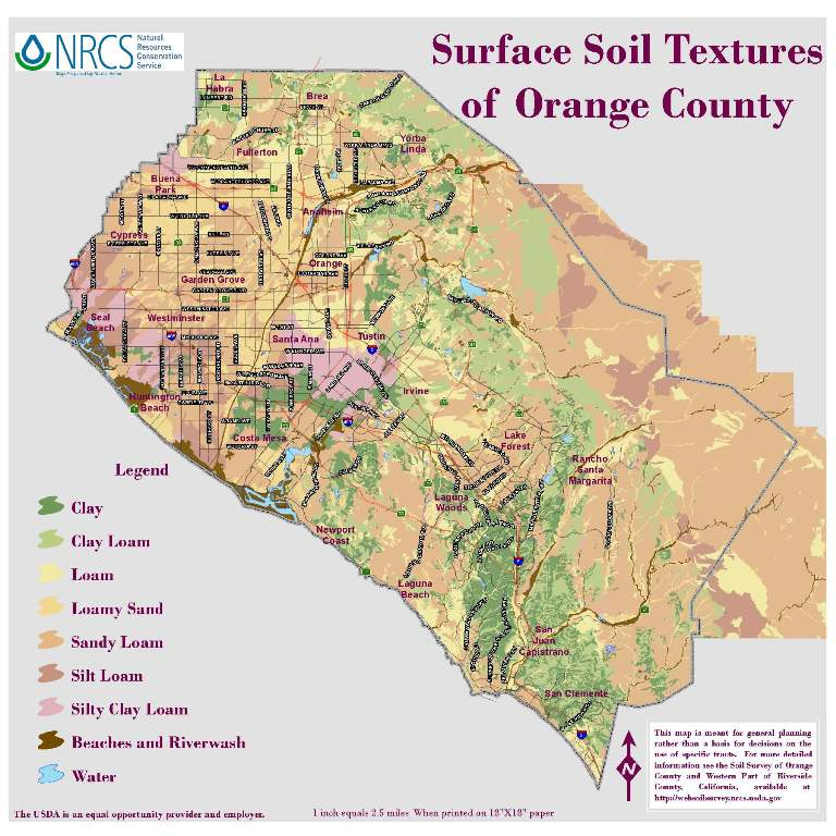 Orange Grove California Map.Orange County Surface Soils Textures Map Mwdoc
