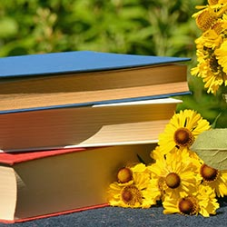 image of books and flowers